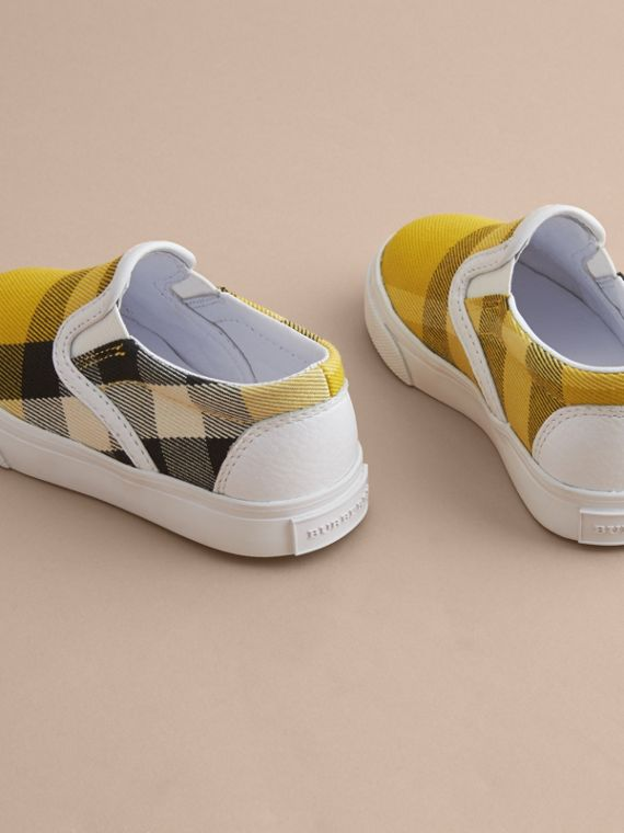 Tonal House Check and Leather Slip-on Trainers in Gorse Yellow - Children | Burberry - cell image 3
