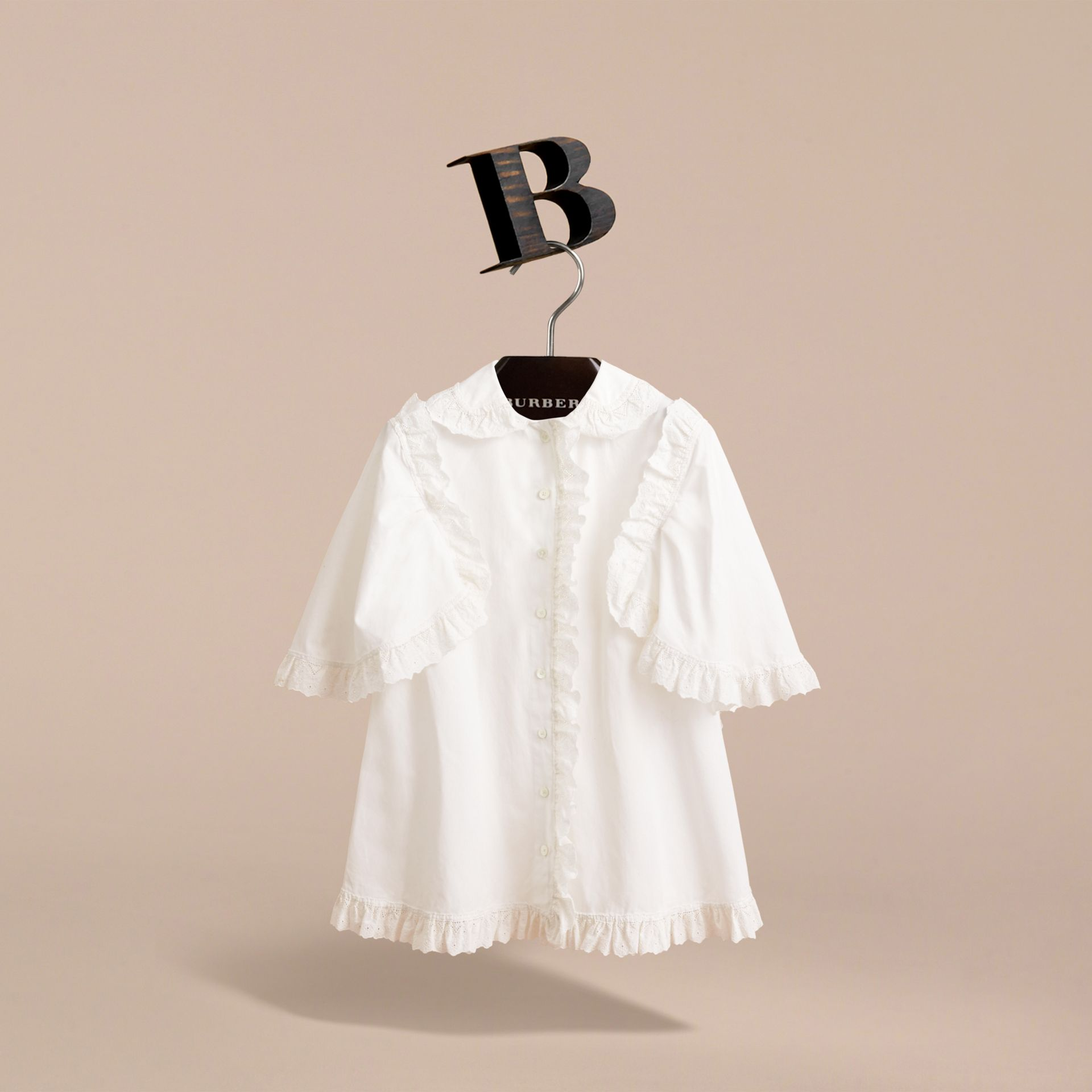 Broderie Anglaise Ruffle Cotton Poplin Shirt in White - Girl | Burberry - gallery image 3