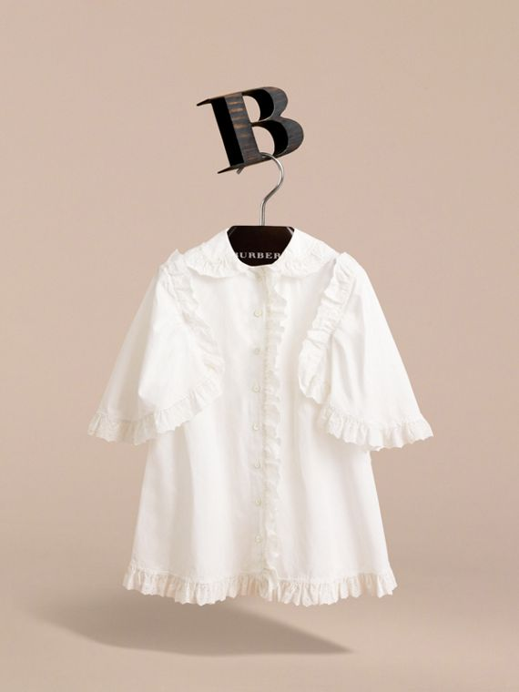 Broderie Anglaise Ruffle Cotton Poplin Shirt in White - Girl | Burberry - cell image 2