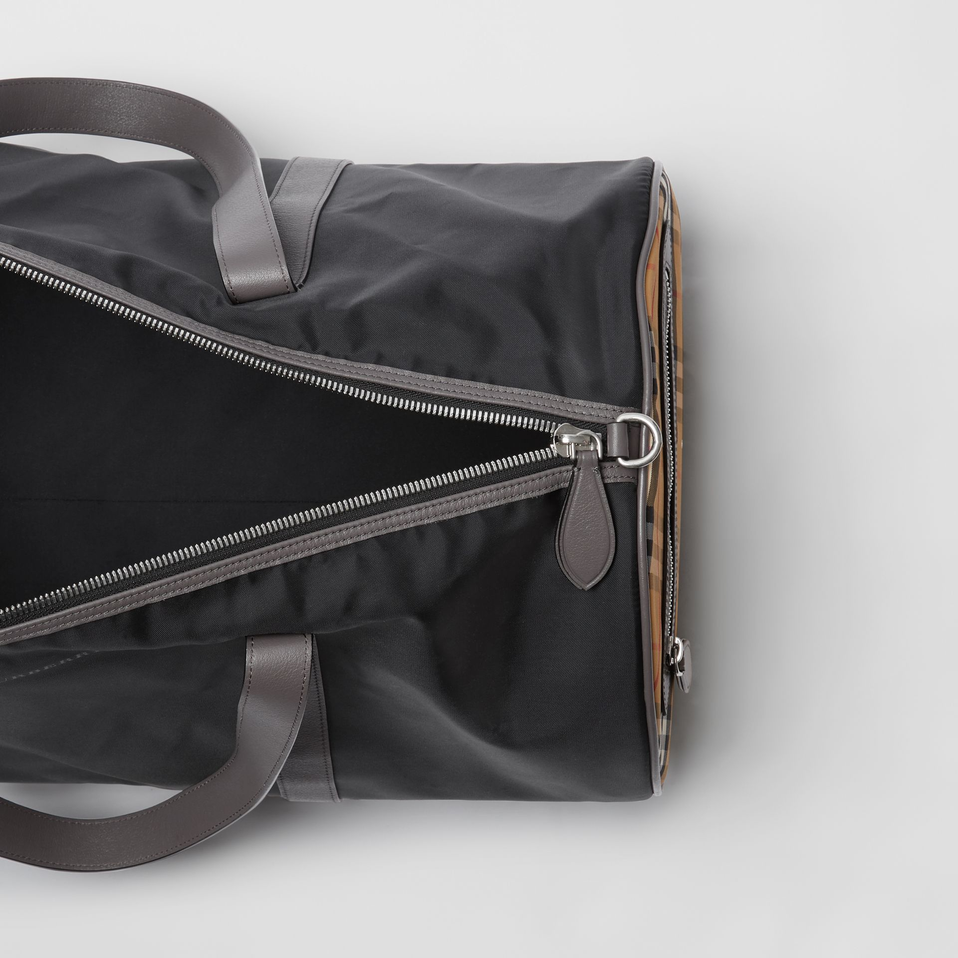 Large Nylon and Vintage Check Barrel Bag in Black - Men | Burberry United States - gallery image 5