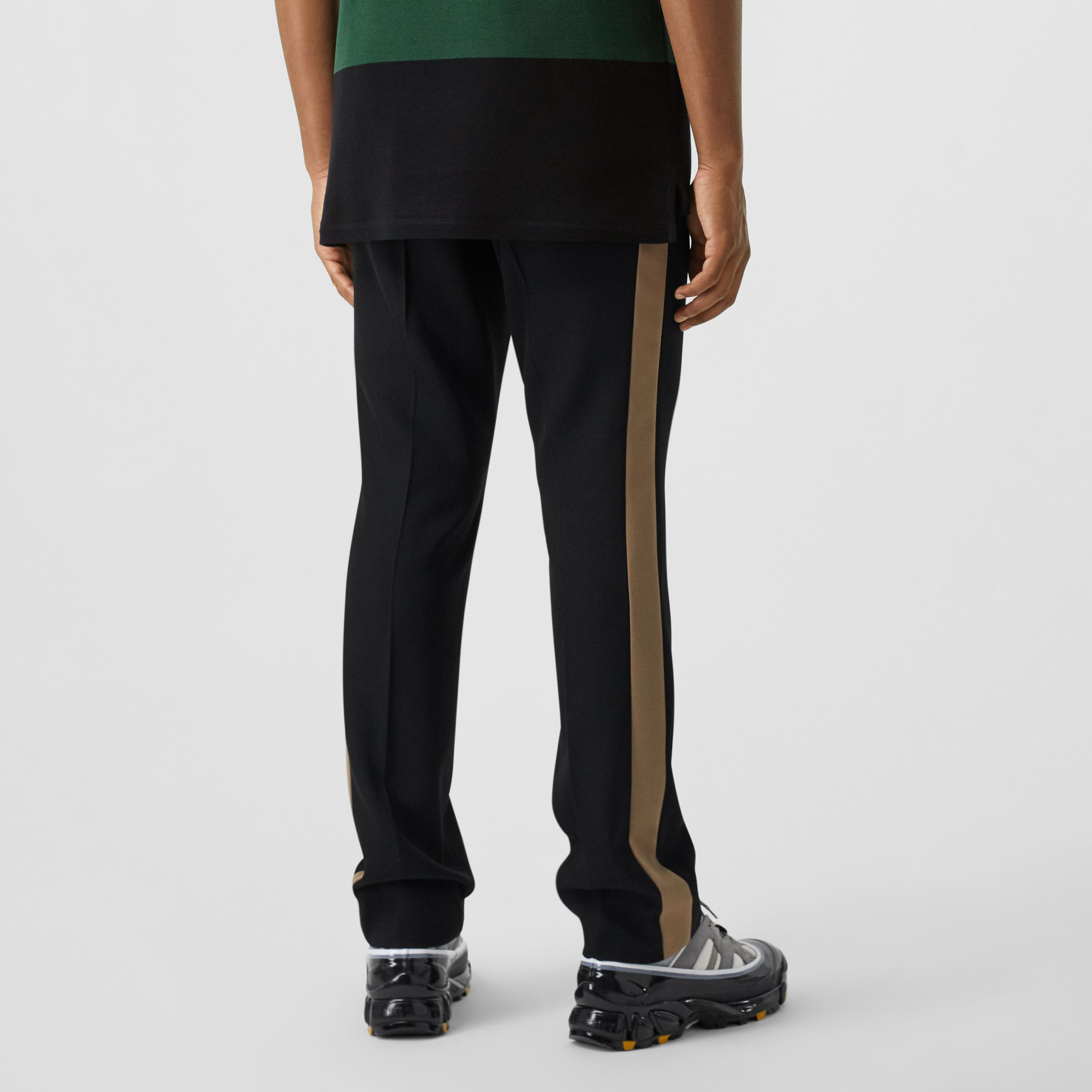 Classic Fit Side Stripe Wool Tailored Trousers in Black - Men | Burberry - 3