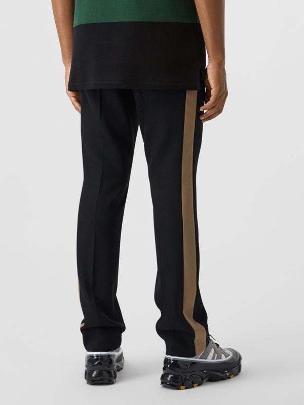 Classic Fit Side Stripe Wool Tailored Trousers in Black - Men | Burberry Canada - cell image 2