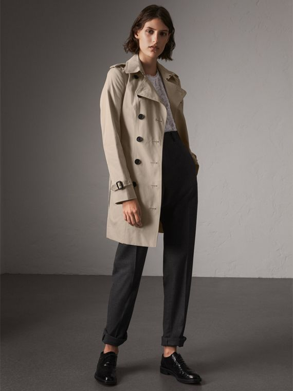 The Sandringham – Mid-Length Heritage Trench Coat in Stone