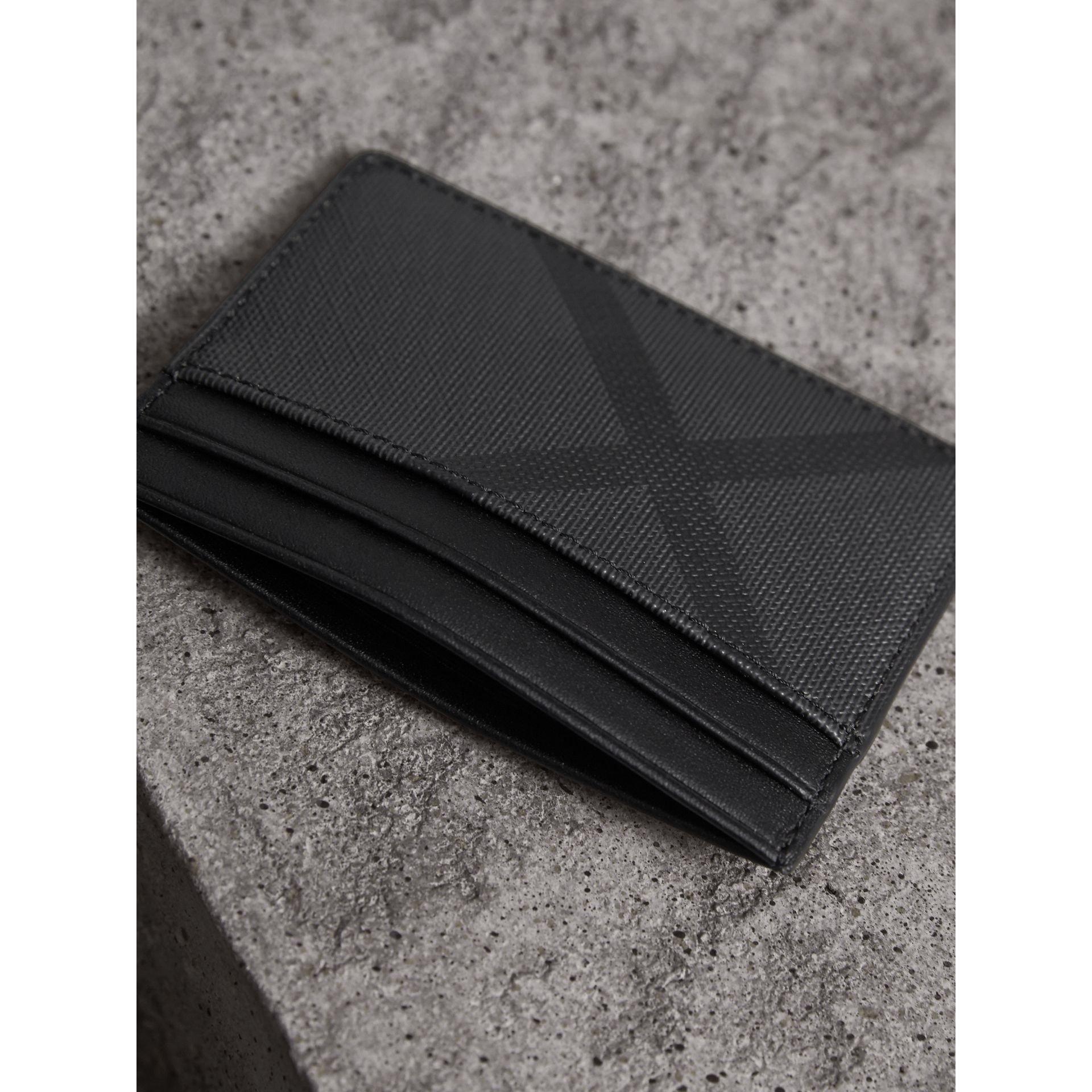 London Check Card Case in Charcoal/black - Men | Burberry Australia - gallery image 2