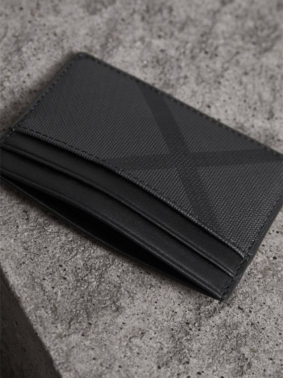 London Check Card Case in Charcoal/black - Men | Burberry - cell image 2