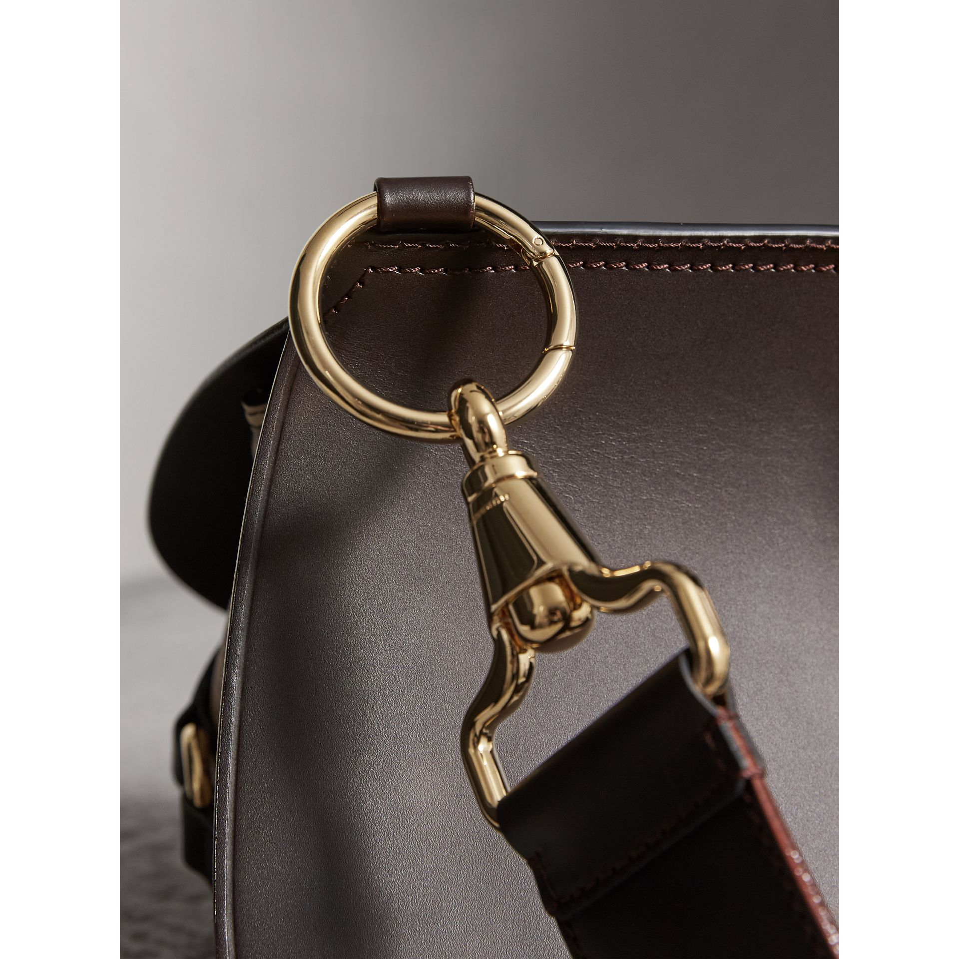 The Bridle Bag in Leather and Haymarket Check in Dark Clove Brown - Women | Burberry Canada - gallery image 2