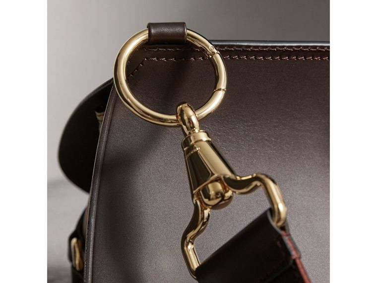 The Bridle Bag in Leather and Haymarket Check in Dark Clove Brown - Women | Burberry - cell image 1