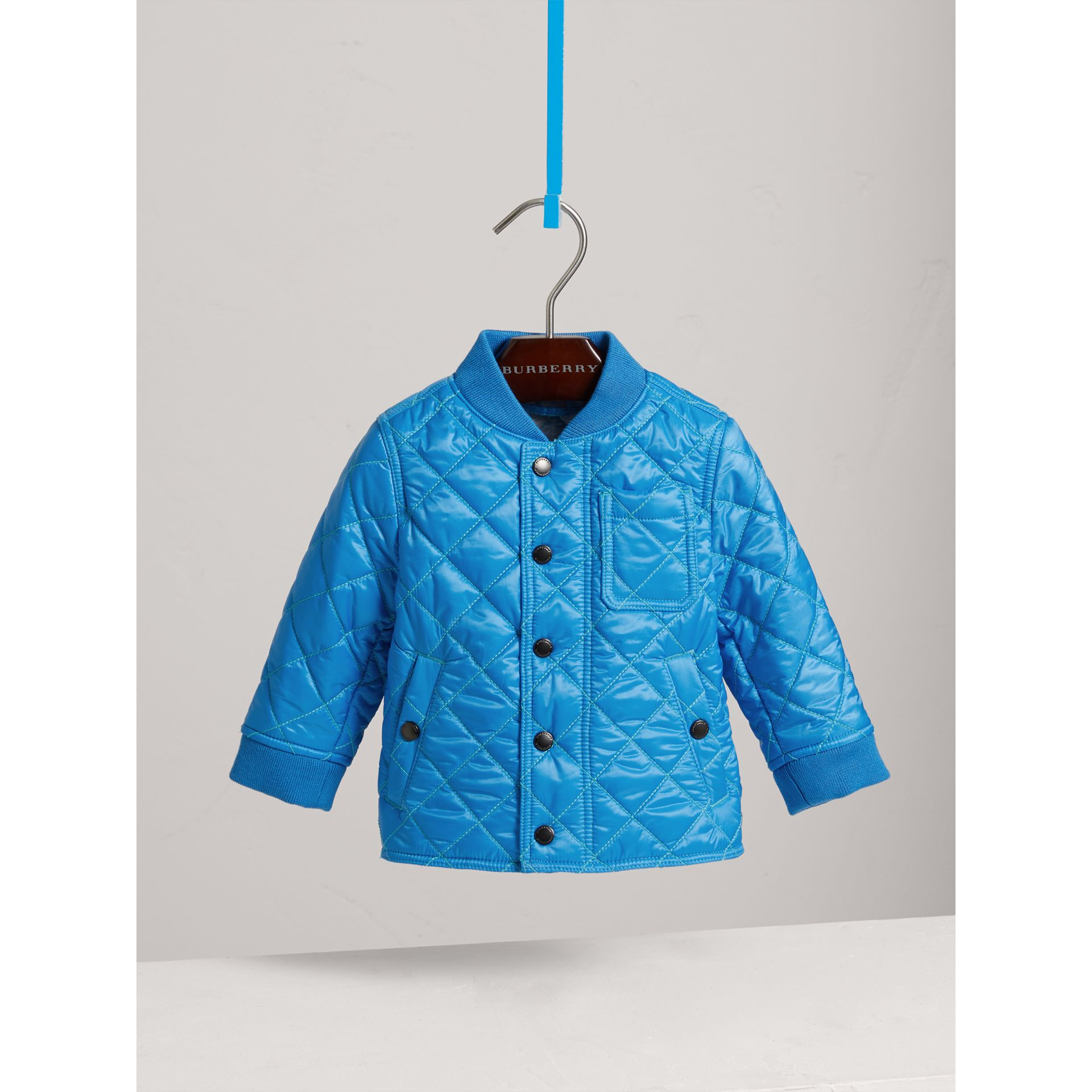 Topstitched Quilted Jacket in Cyan Blue | Burberry - gallery image 0