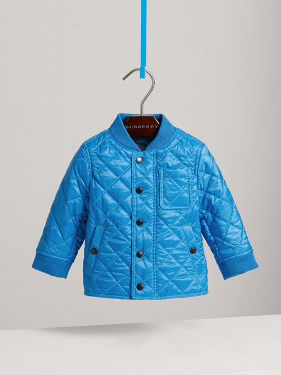 Topstitched Quilted Jacket in Cyan Blue