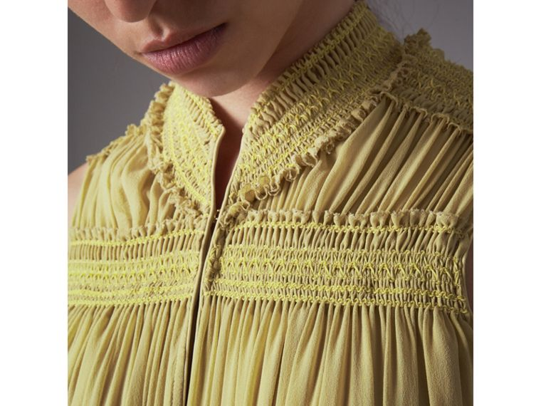 Ruched Silk Georgette Dress in Cornflower Yellow - Women | Burberry - cell image 1