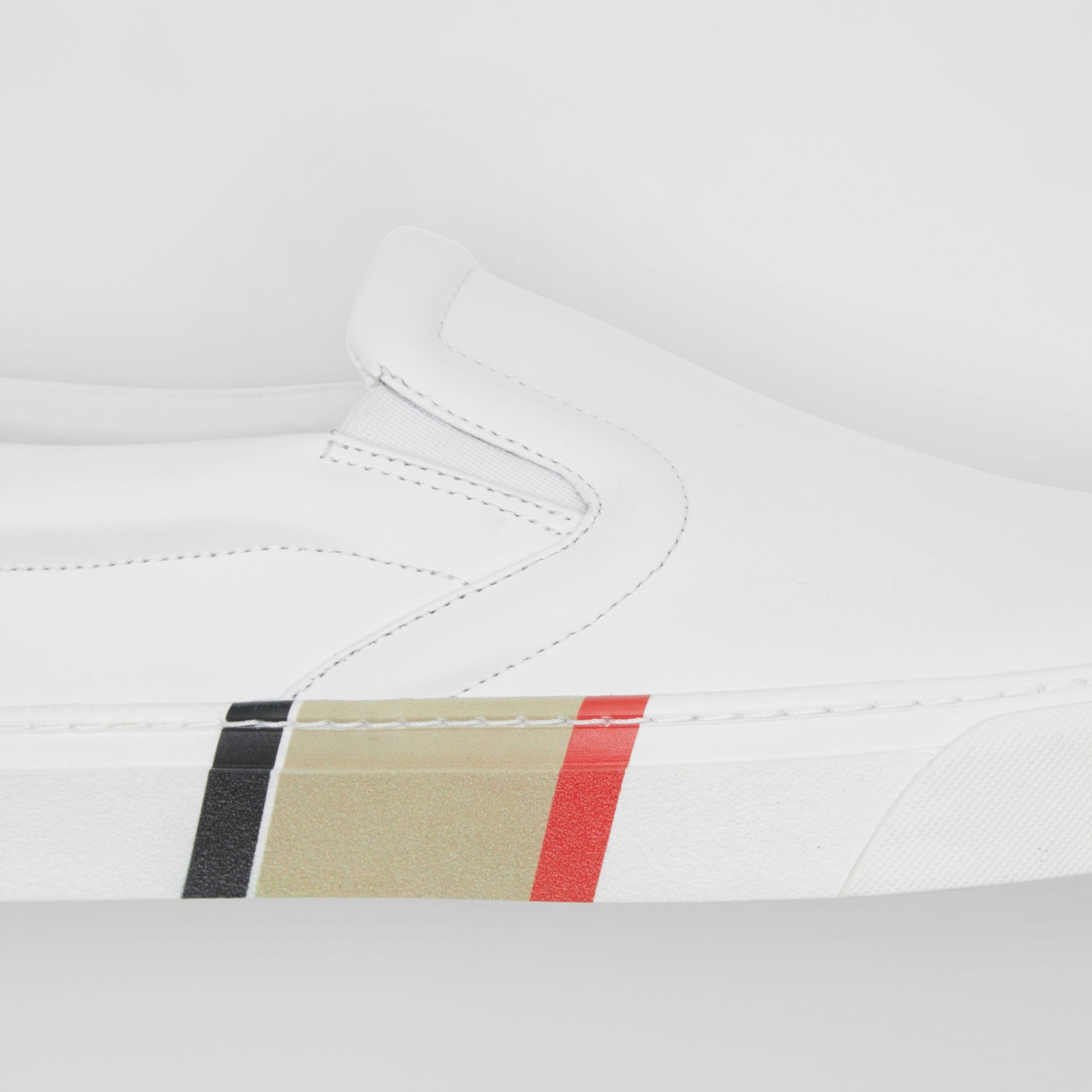 Bio-based Sole Leather Slip-on Sneakers in Optic White - Men | Burberry - 2