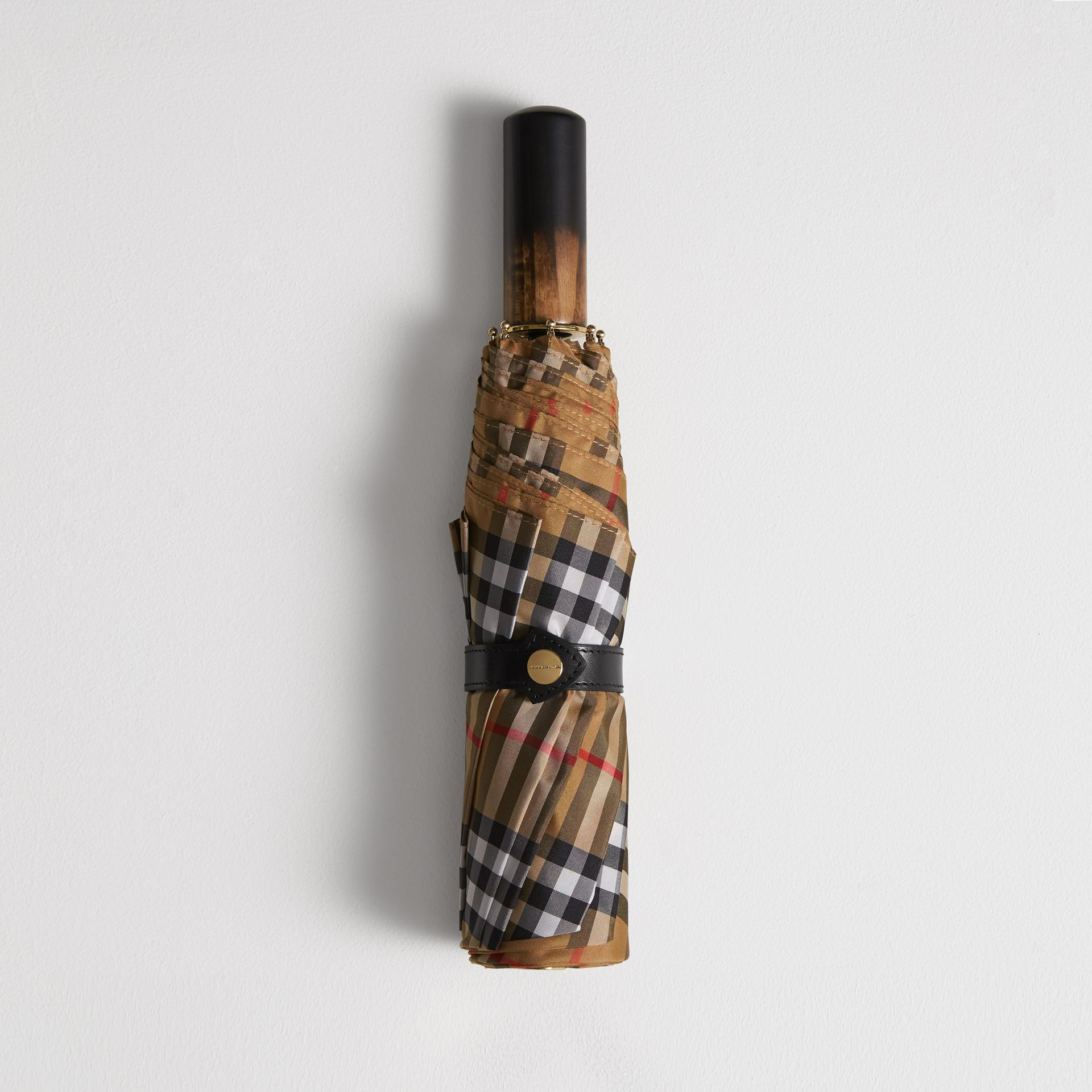 Vintage Check Folding Umbrella in Antique Yellow | Burberry - gallery image 0