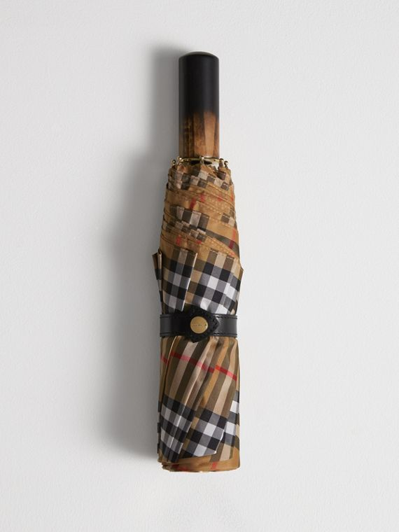 Vintage Check Folding Umbrella in Antique Yellow