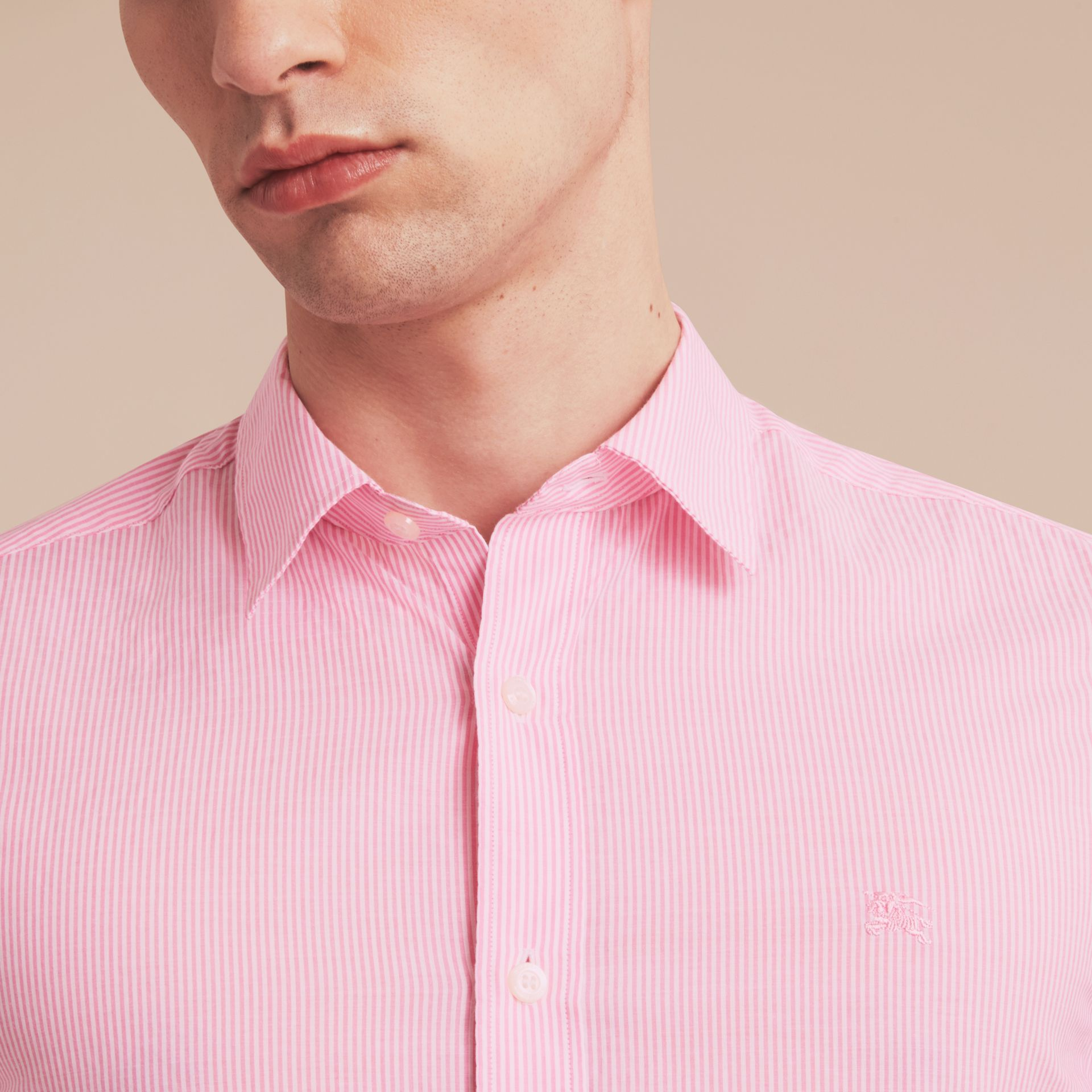 Striped Cotton Blend Shirt in Pale Pink - Men | Burberry - gallery image 5