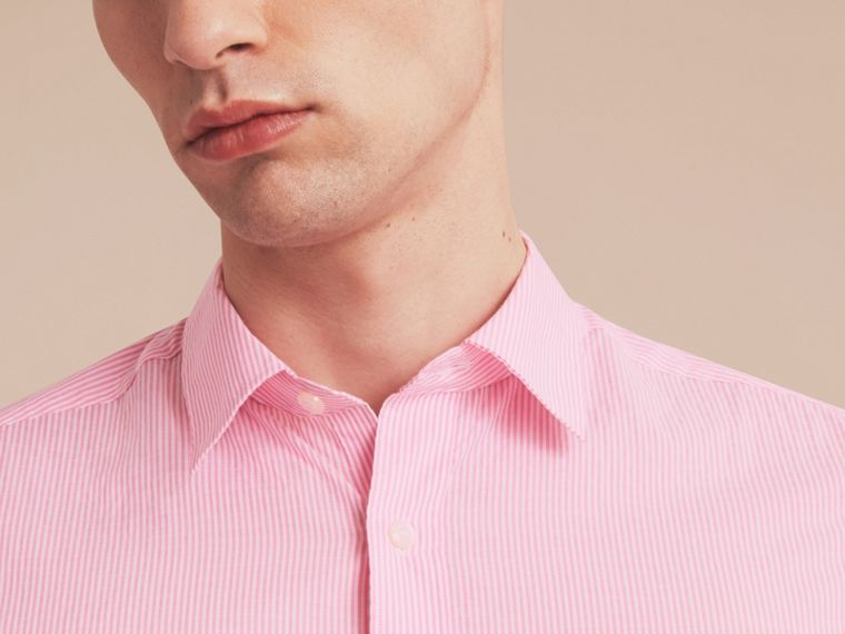 Striped Cotton Blend Shirt in Pale Pink - Men | Burberry - cell image 4