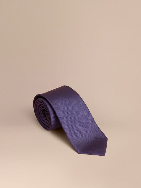 Cravate fine en sergé de soie (Marine)