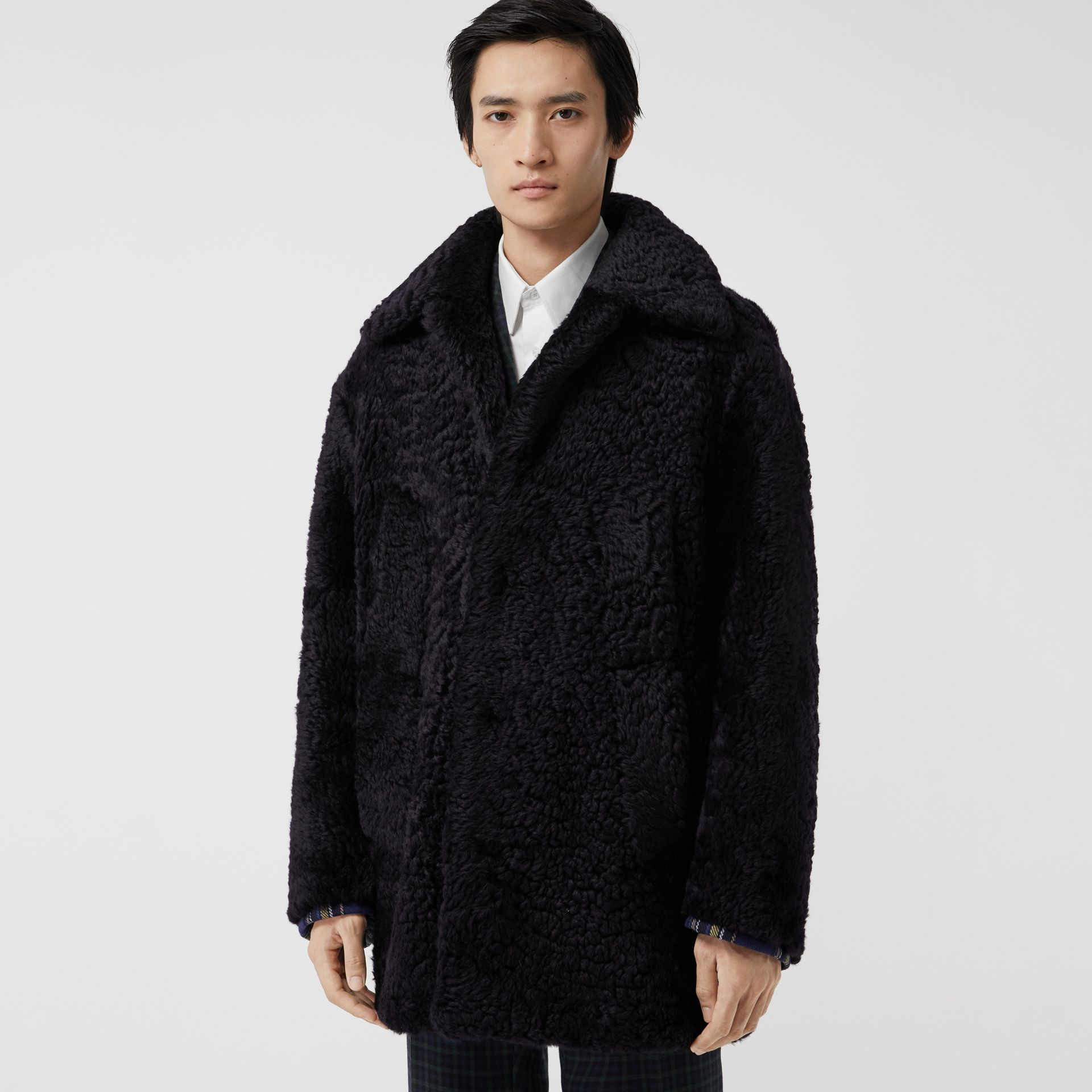 Curly Shearling Coat in Navy - Men | Burberry - gallery image 5