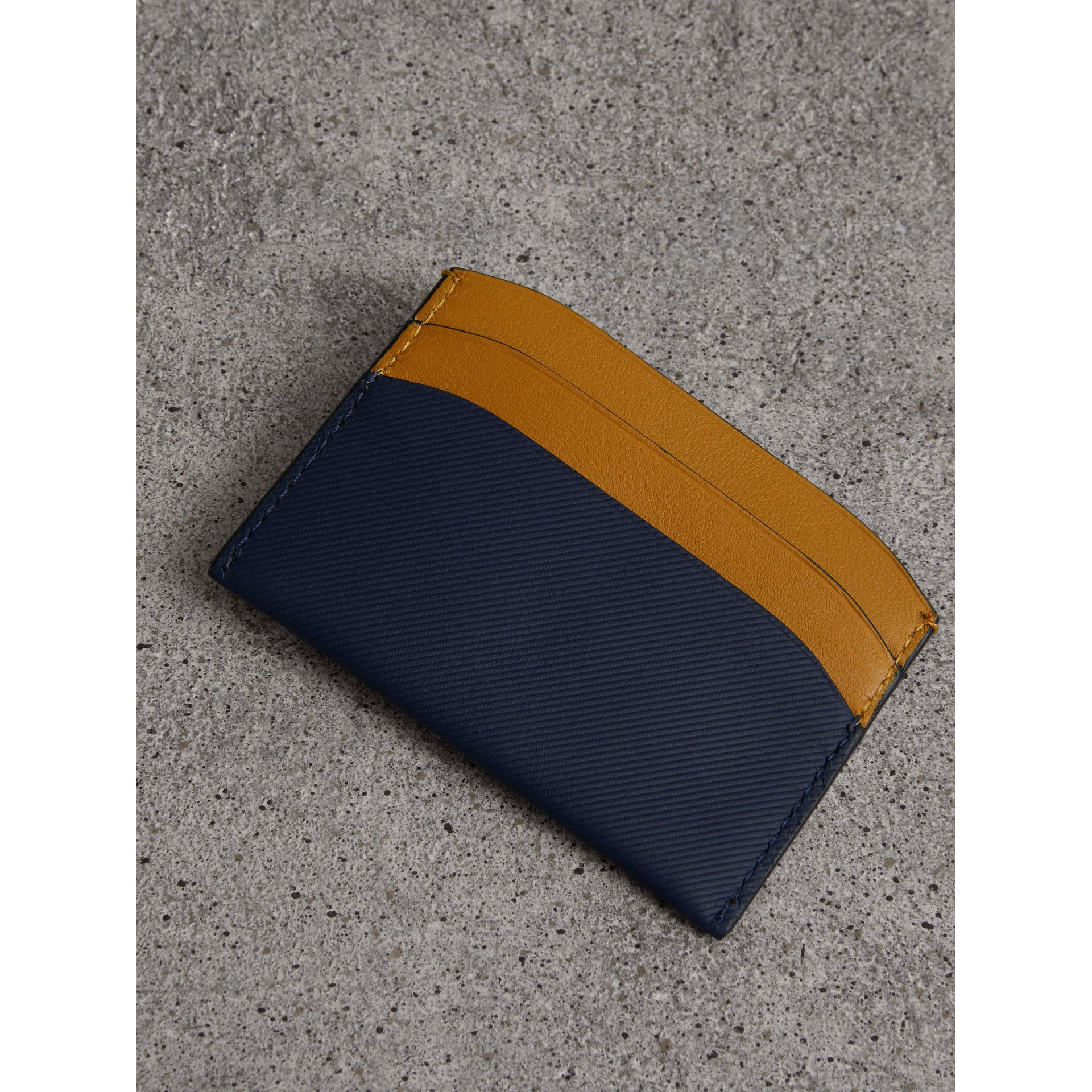 Two-tone Trench Leather Card Case in Ink Blue/ochr Yellow | Burberry - gallery image 2