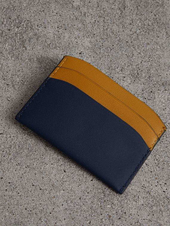 Two-tone Trench Leather Card Case in Ink Blue/ochr Yellow | Burberry - cell image 2