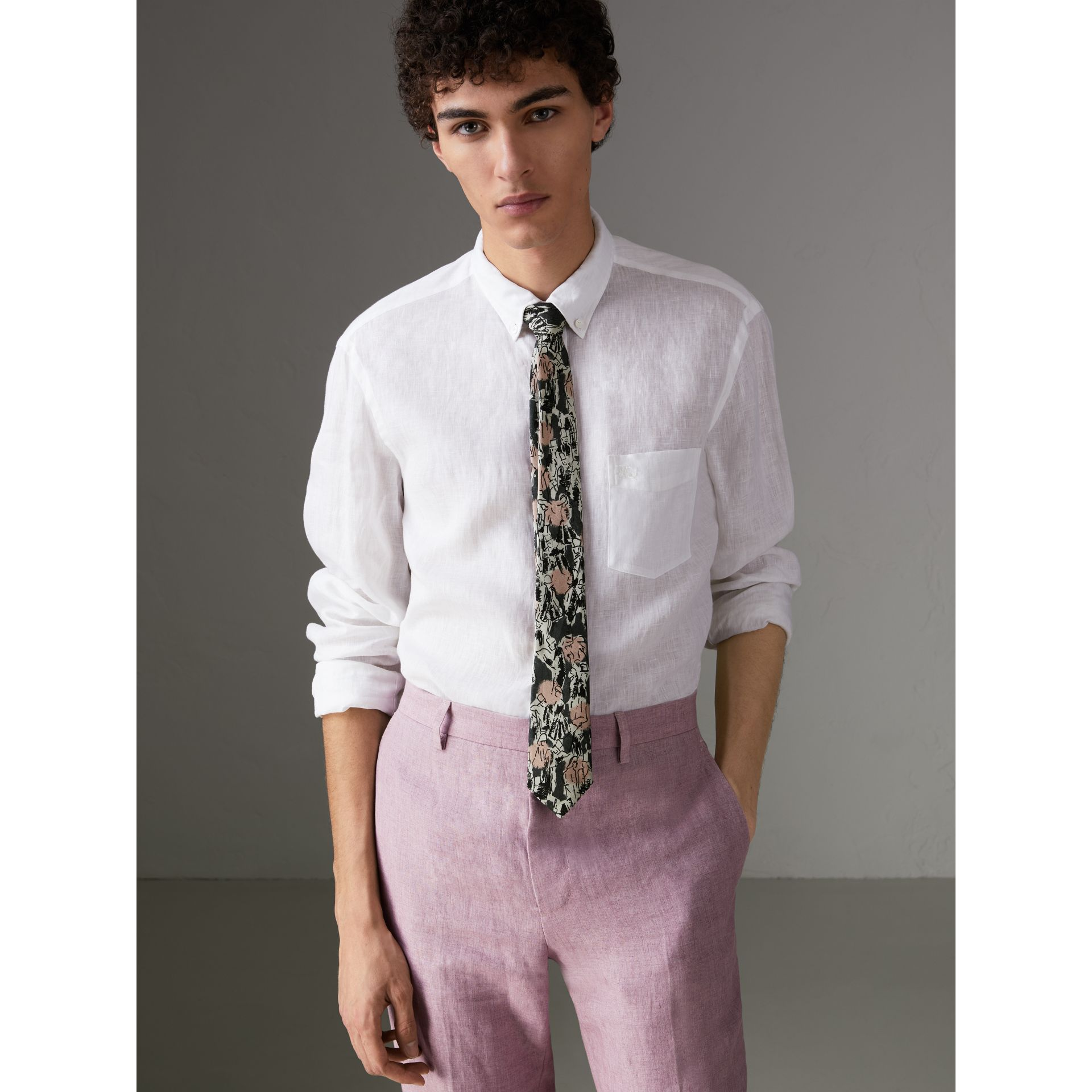 Slim Cut Figurative Print Linen Silk Tie in Mid Grey - Men | Burberry United States - gallery image 2