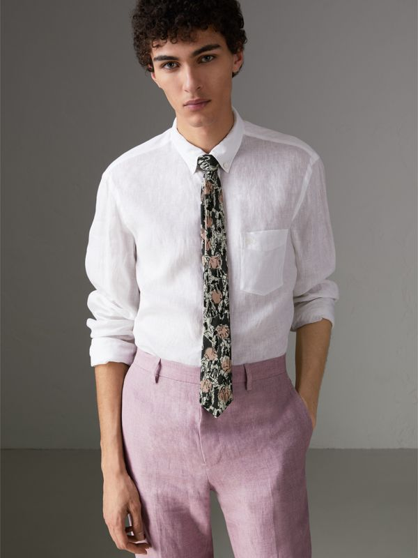Slim Cut Figurative Print Linen Silk Tie in Mid Grey - Men | Burberry - cell image 2
