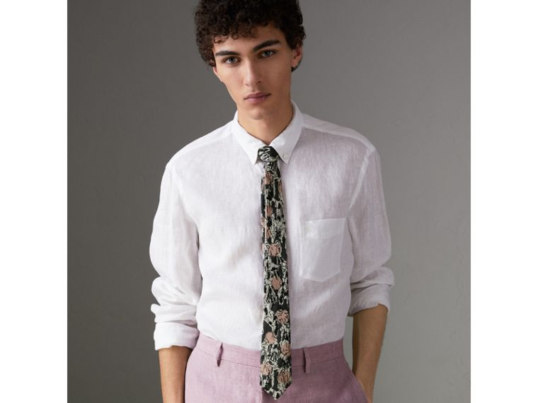 Slim Cut Figurative Print Linen Silk Tie in Mid Grey - Men | Burberry United States - cell image 2