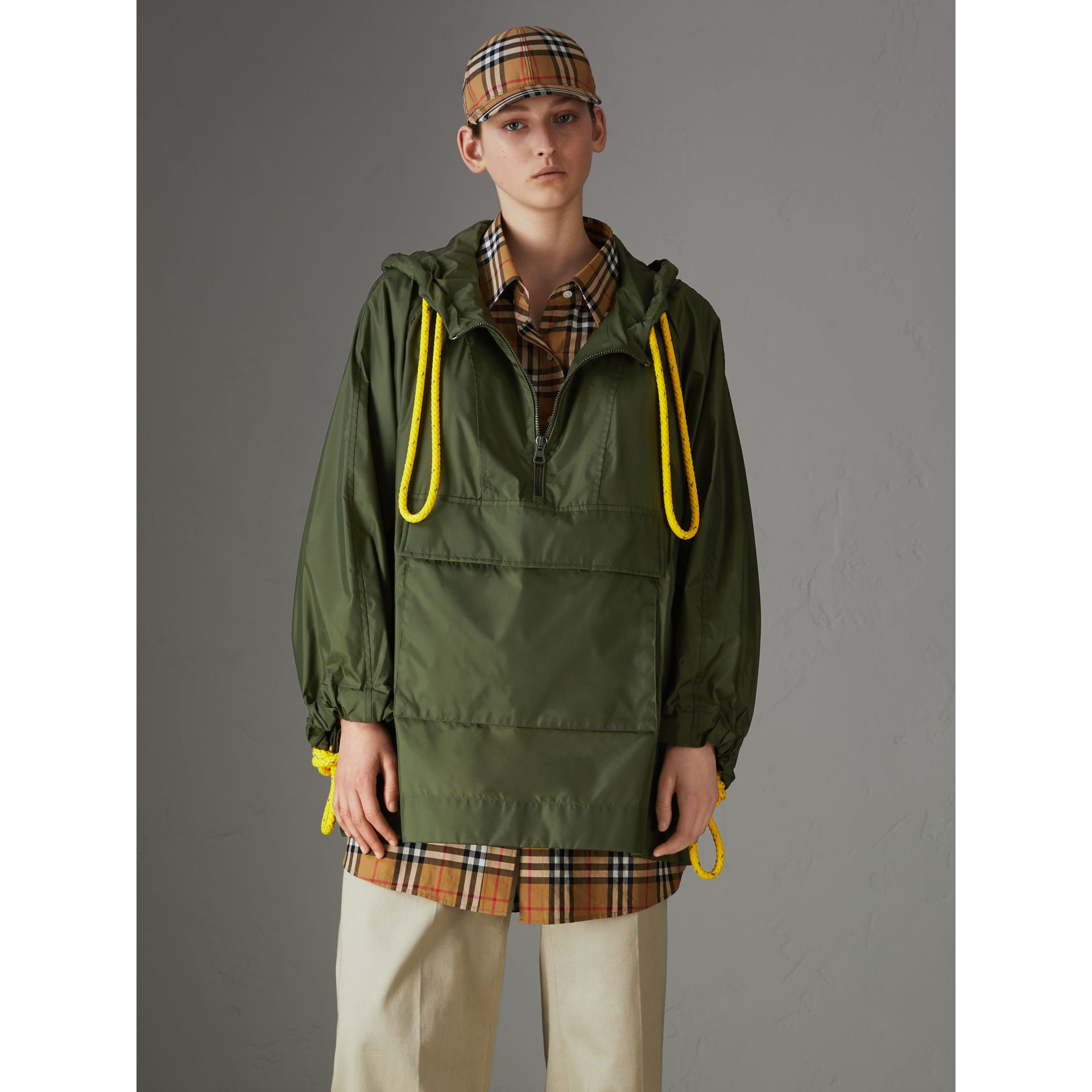 Oversized Nylon Cagoule in Light Olive - Women | Burberry - gallery image 4