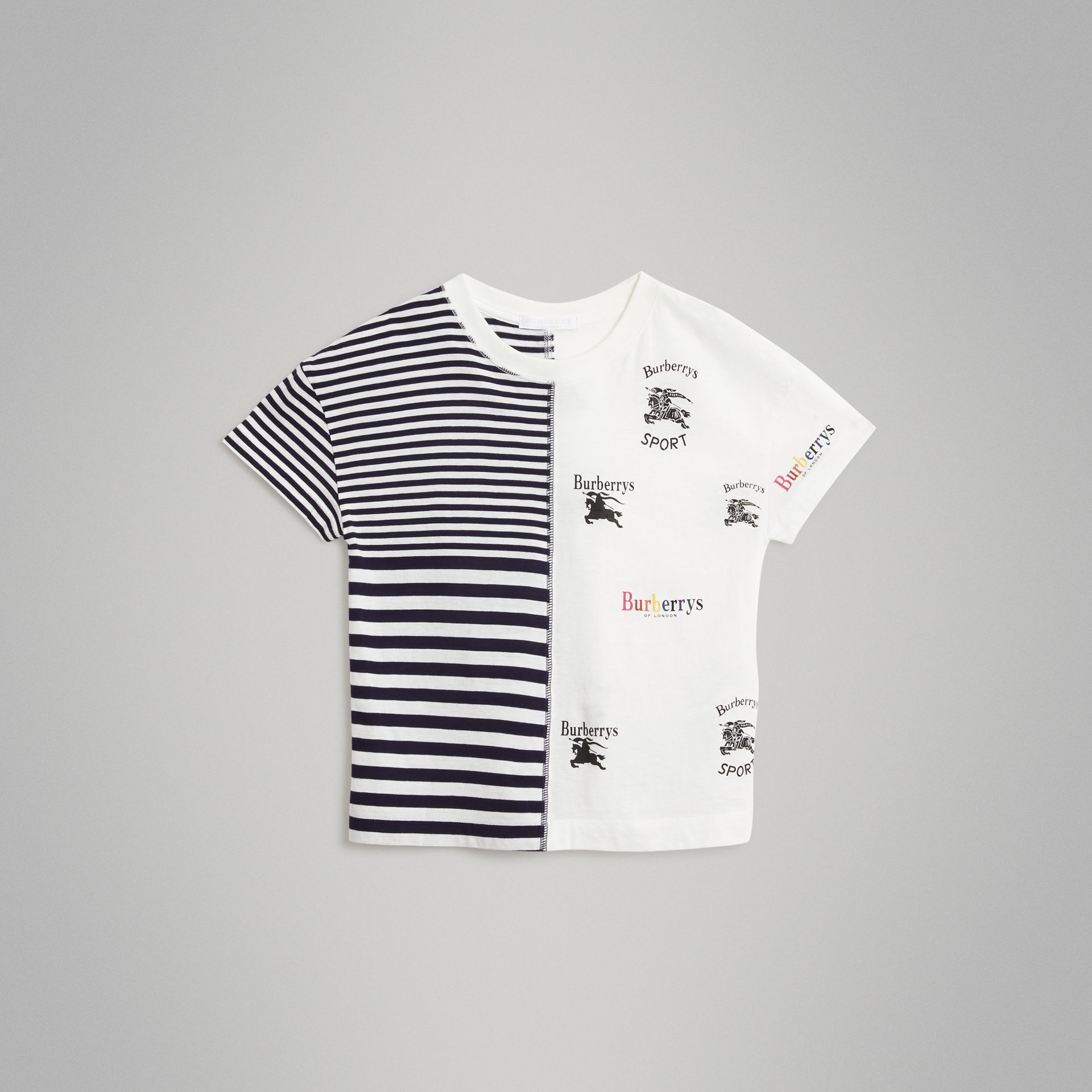Archive Logo Print Striped Cotton T-shirt in Navy - Boy | Burberry Australia - gallery image 0