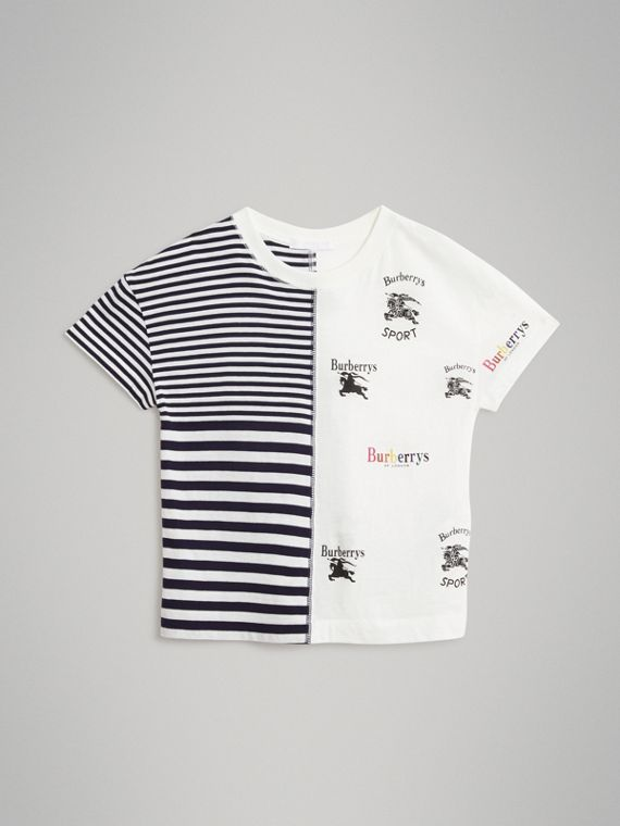Archive Logo Print Striped Cotton T-shirt in Navy