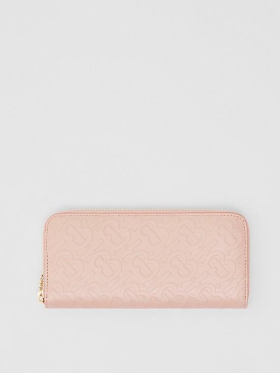 Monogram Leather Ziparound Wallet in Rose Beige