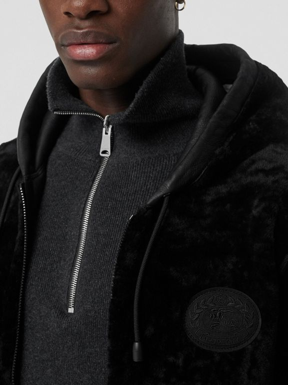 Reversible Shearling Hooded Bomber Jacket in Black - Men | Burberry United Kingdom - cell image 1