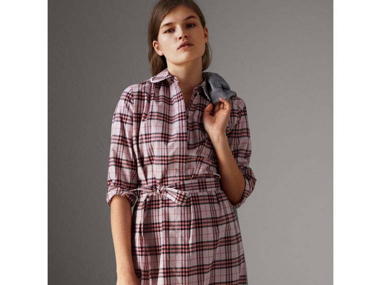 Lace Trim Collar Check Cotton Shirt Dress in Pink Azalea - Women | Burberry - cell image 4