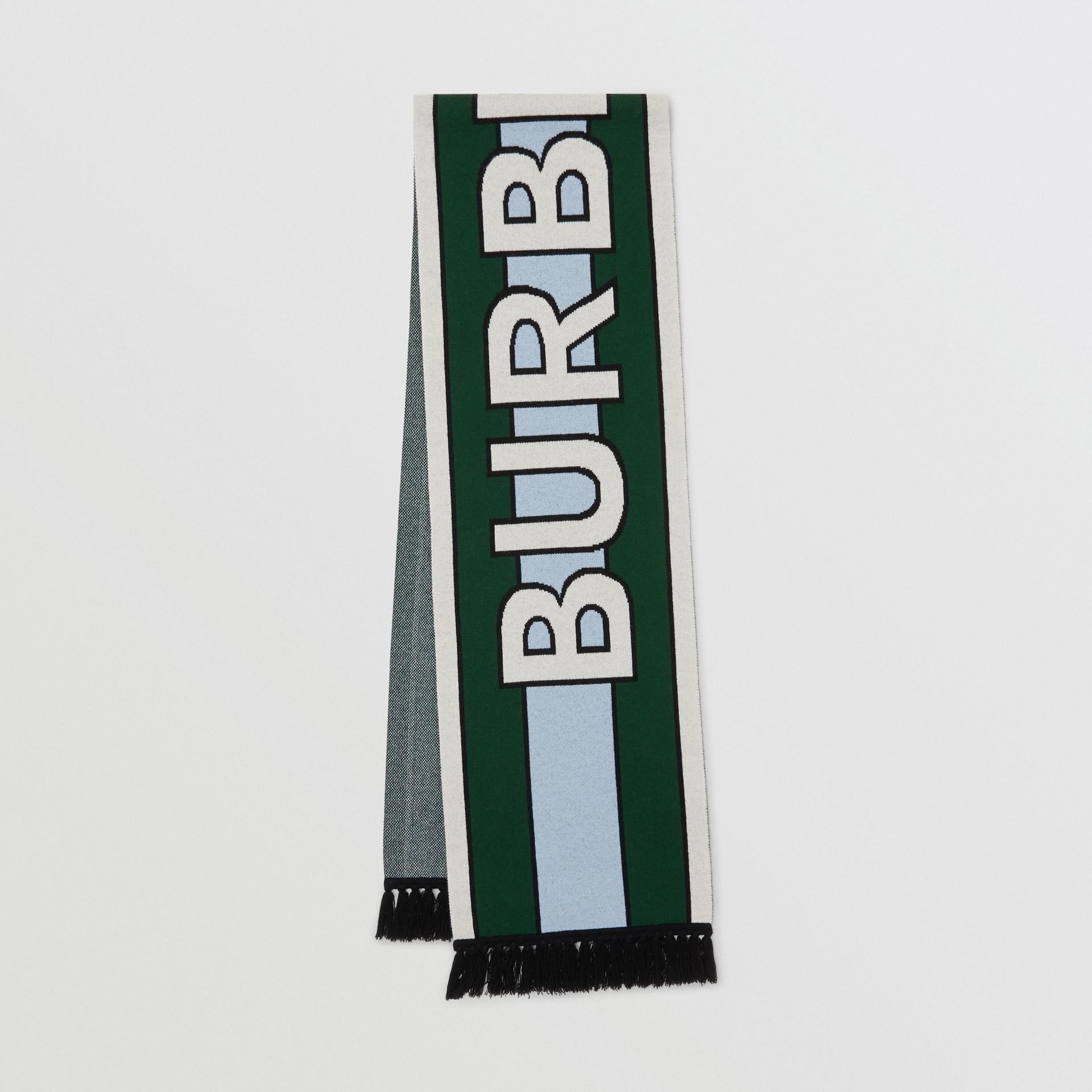 標誌細節喀什米爾提花圍巾 (暗松柏綠) | Burberry - 圖庫照片 0