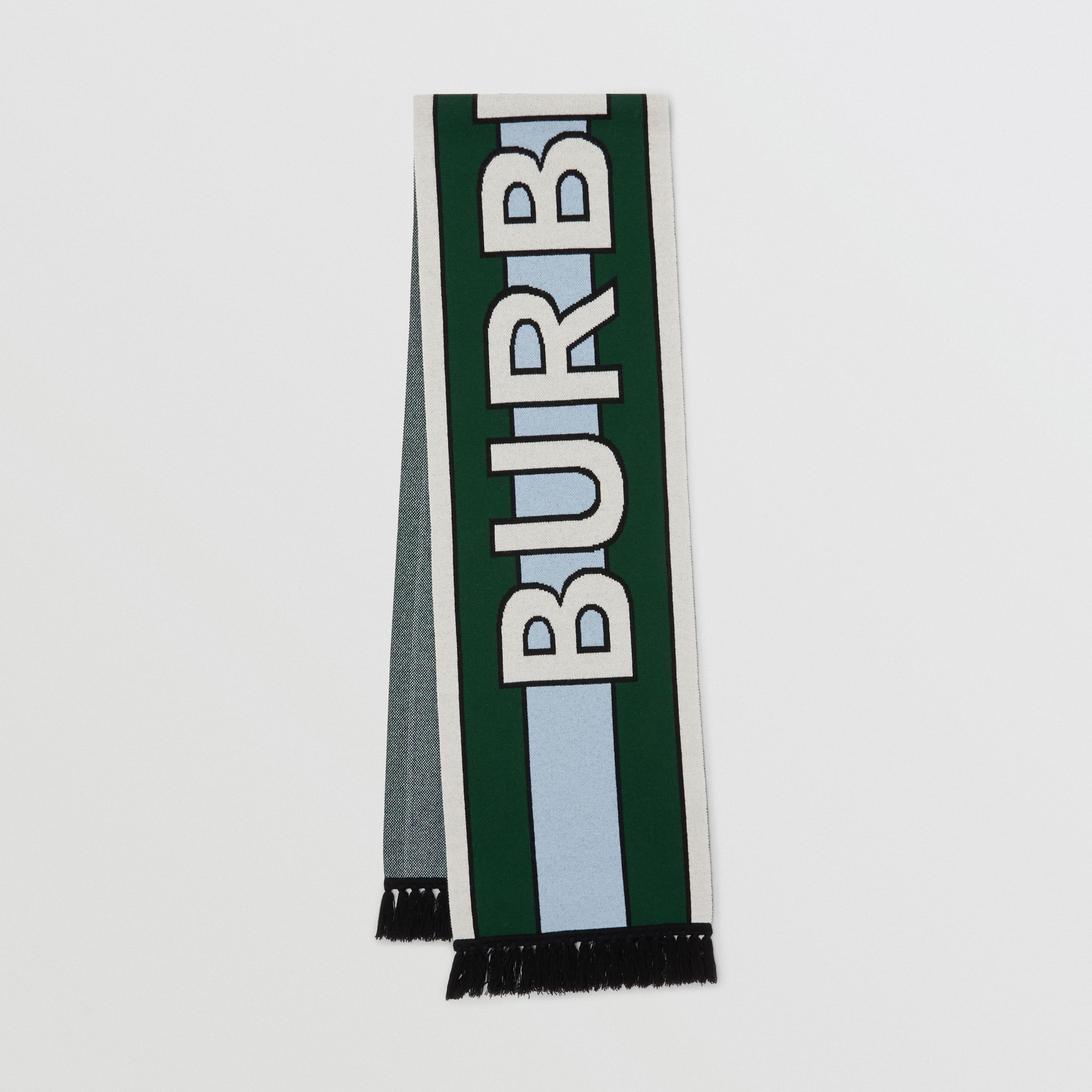 Logo Cashmere Jacquard Scarf in Dark Pine Green | Burberry - 1