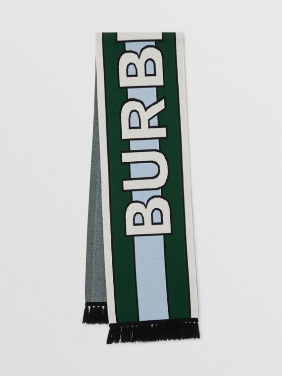 Logo Cashmere Jacquard Scarf in Dark Pine Green