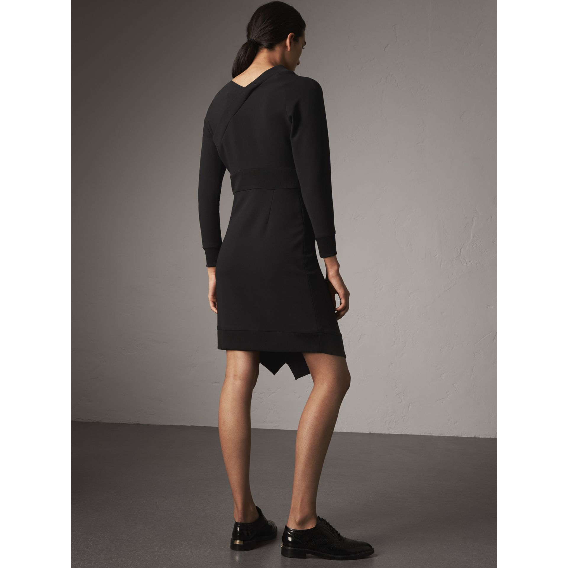 Ribbed Trim Crepe Asymmetric Dress in Black - Women | Burberry - gallery image 3