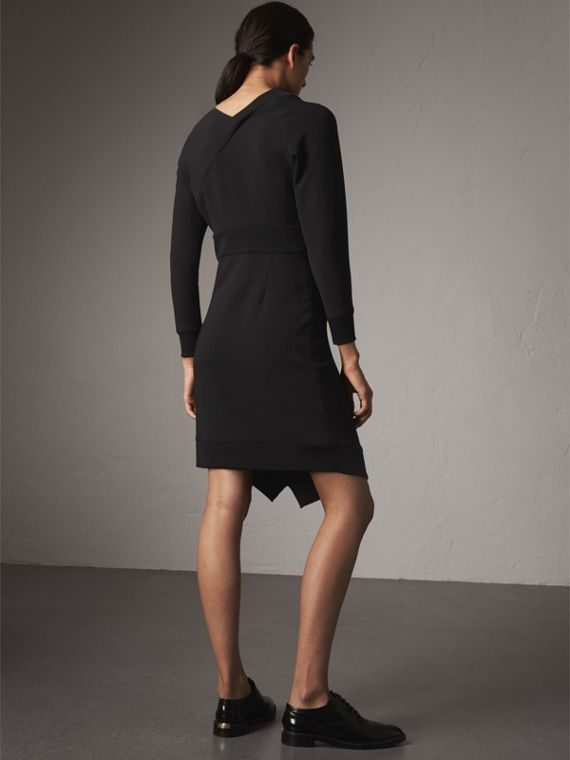 Ribbed Trim Crepe Asymmetric Dress in Black - Women | Burberry - cell image 2