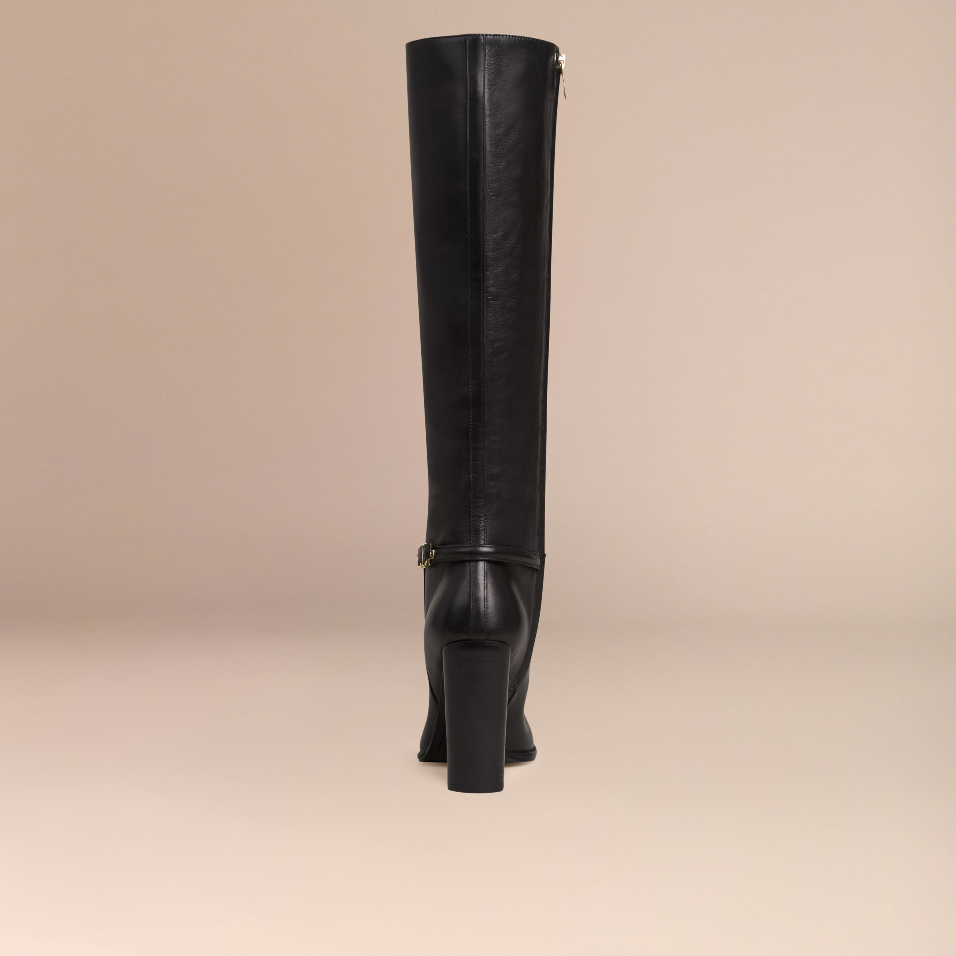 Black Knee-high Leather Boots - gallery image 4