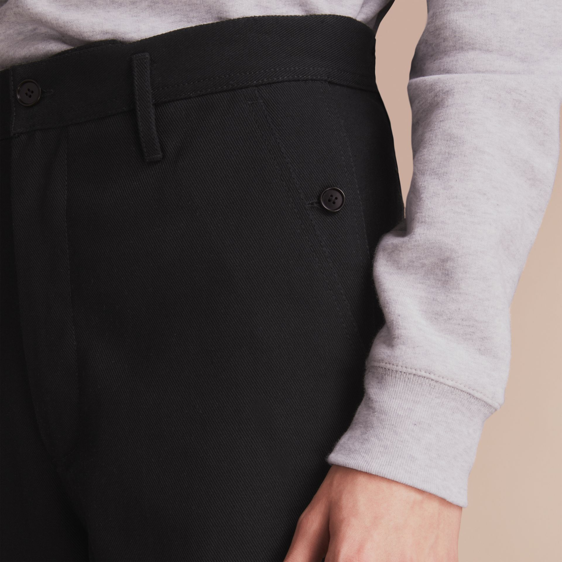 Cotton Twill Cropped Workwear Trousers - gallery image 5