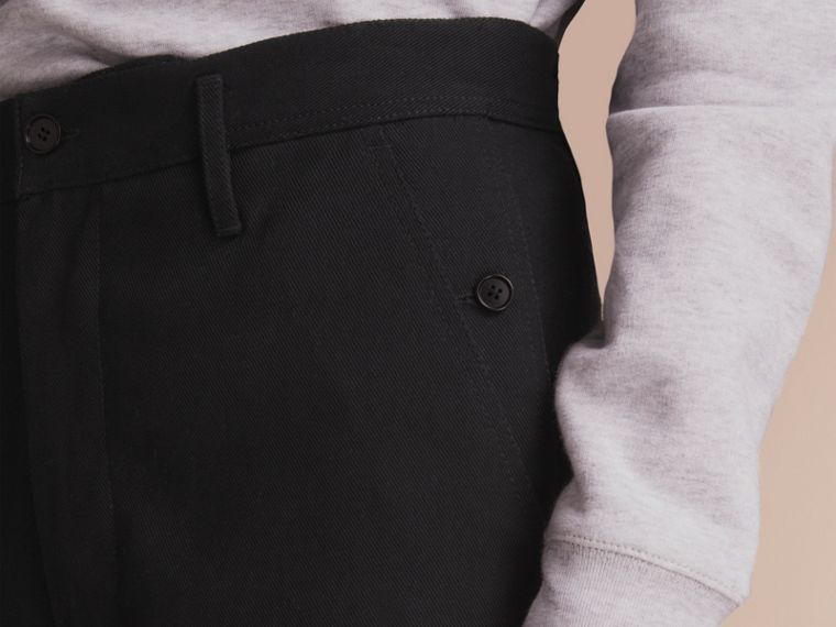 Cotton Twill Cropped Workwear Trousers - Men | Burberry - cell image 4