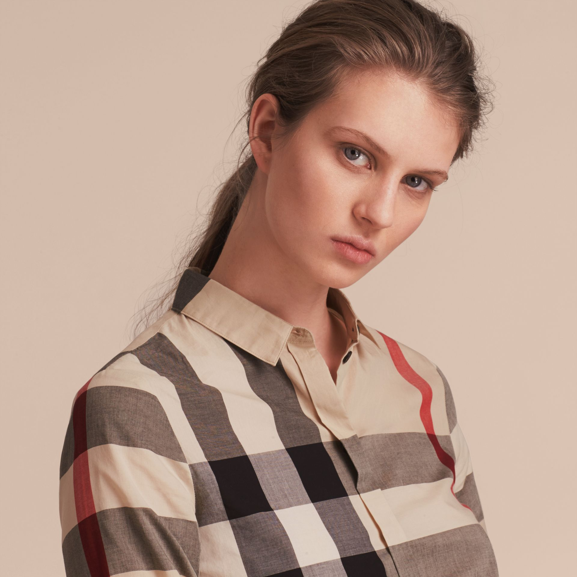 Check Cotton Shirt in New Classic - Women | Burberry Singapore - gallery image 5