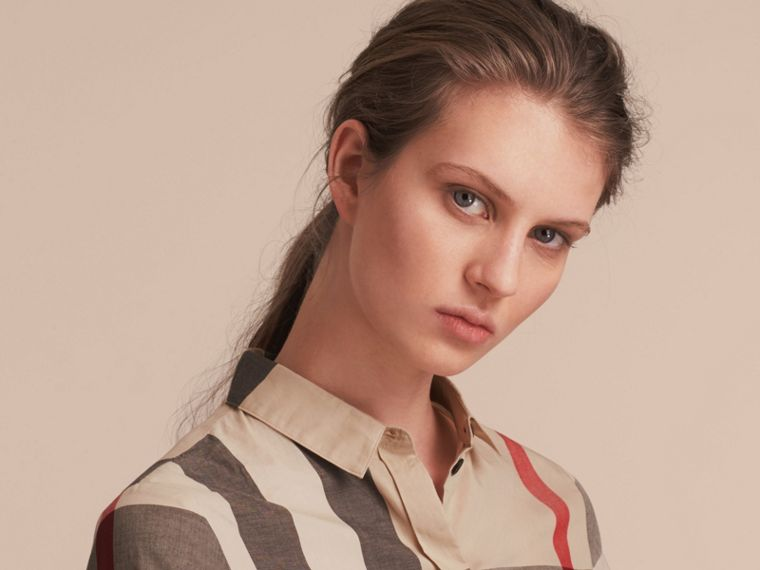 Check Cotton Shirt in New Classic - Women | Burberry Singapore - cell image 4
