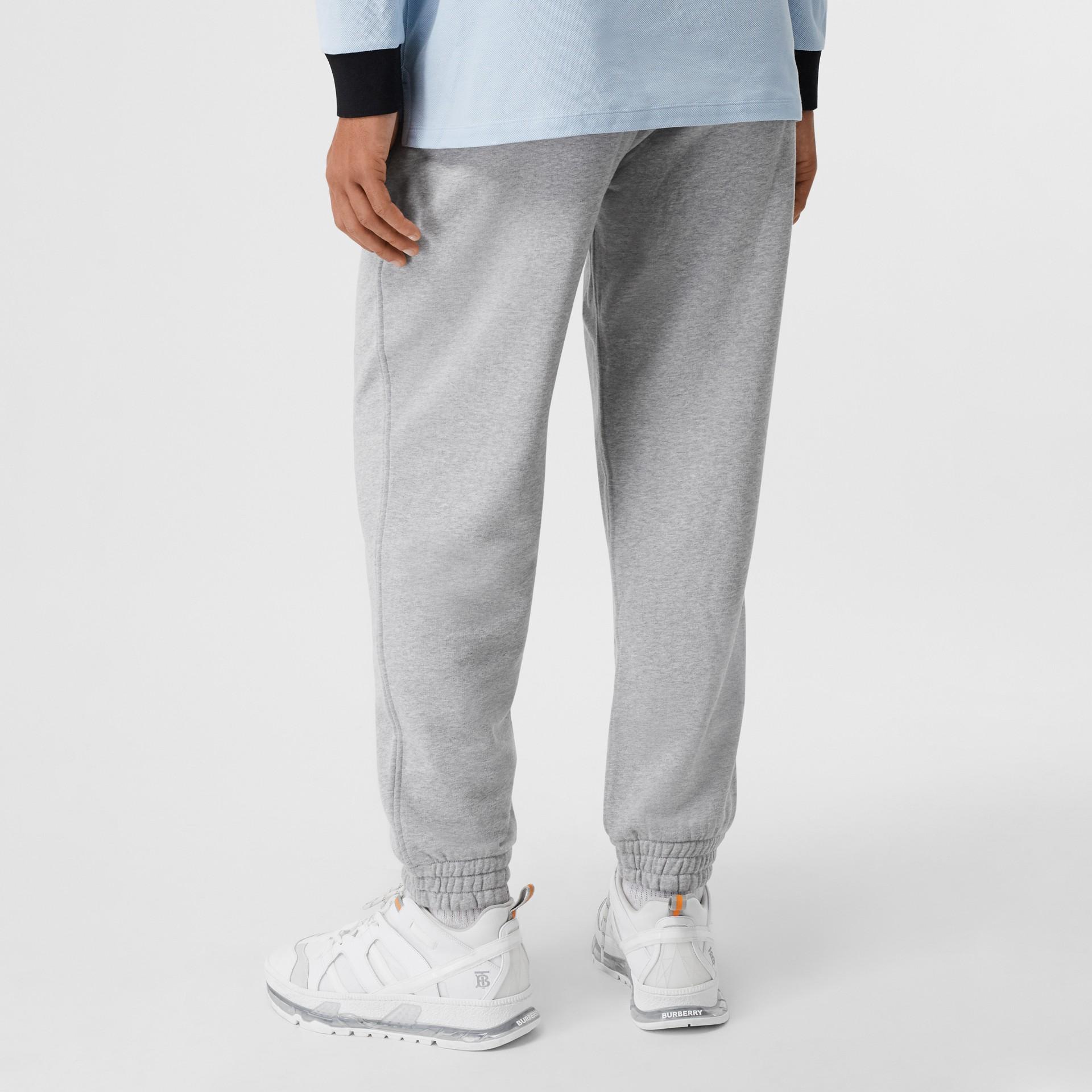 Logo Appliqué Cotton Trackpants in Pale Grey Melange - Men | Burberry - gallery image 2