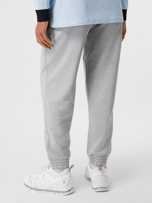 Logo Appliqué Cotton Trackpants in Pale Grey Melange - Men | Burberry United States - cell image 2