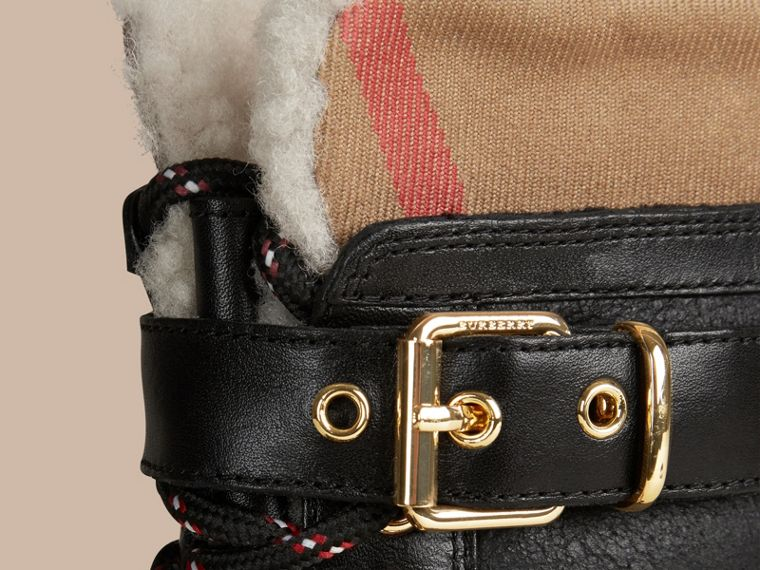 Sueded Shearling and Check Duck Boots in Black - Women | Burberry Singapore - cell image 1