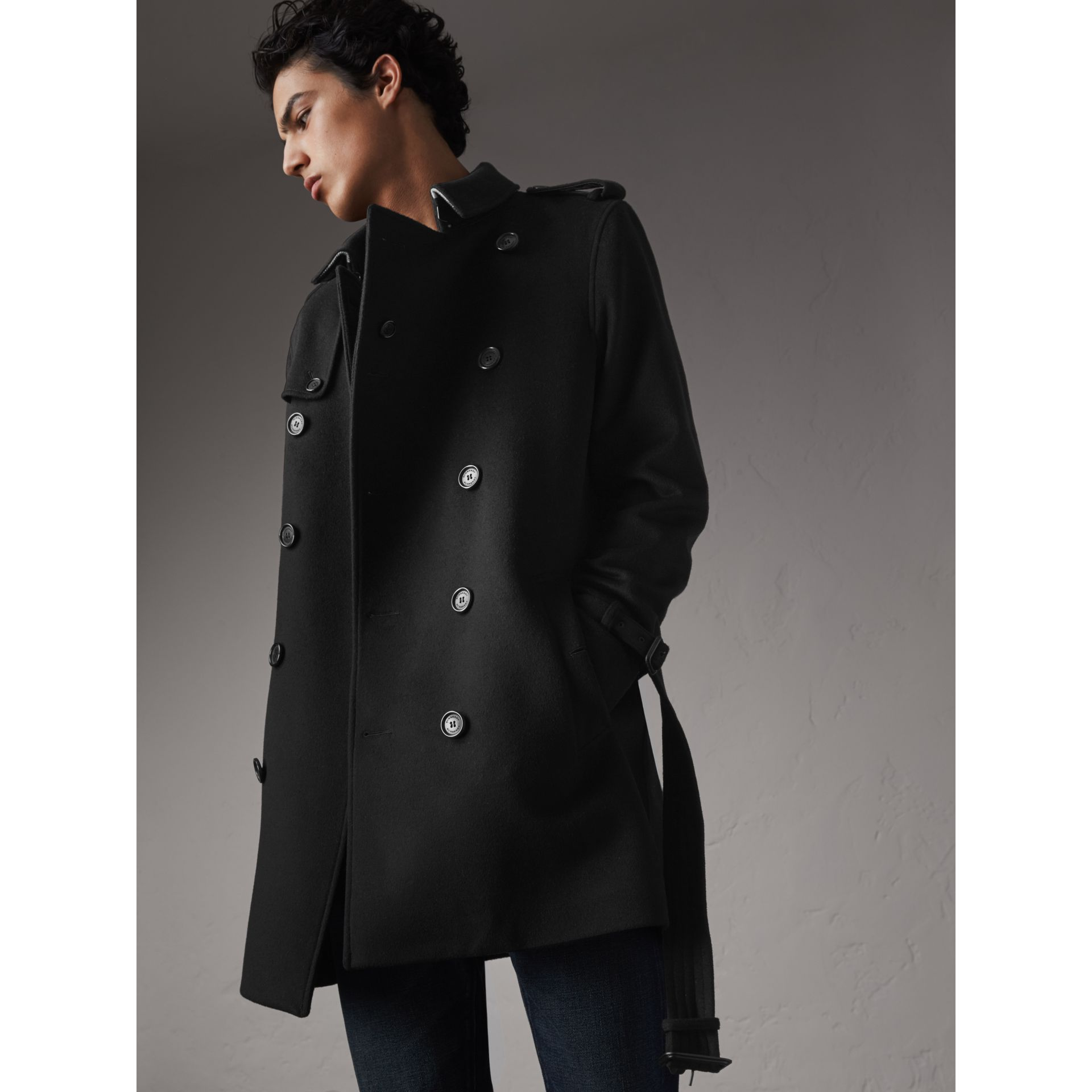 Trench-coat en laine et cachemire (Noir) - Homme | Burberry - photo de la galerie 6