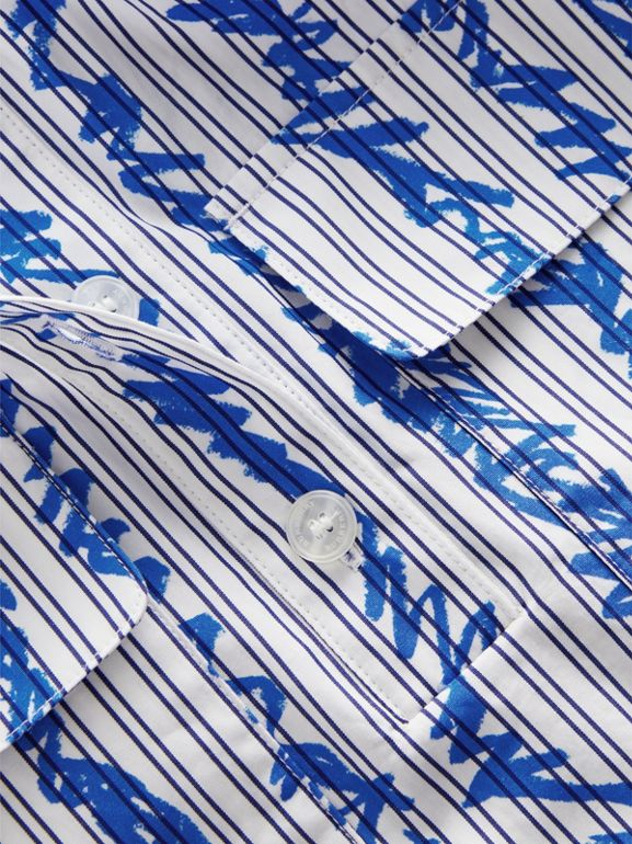 Scribble Stripe Cotton Shirt in Bright Blue | Burberry Hong Kong - cell image 1
