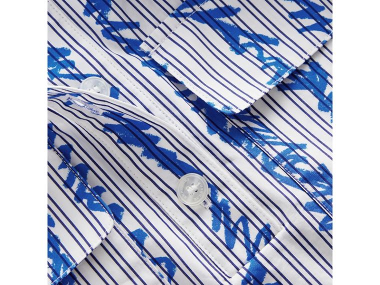Scribble Stripe Cotton Shirt in Bright Blue - Girl | Burberry - cell image 1