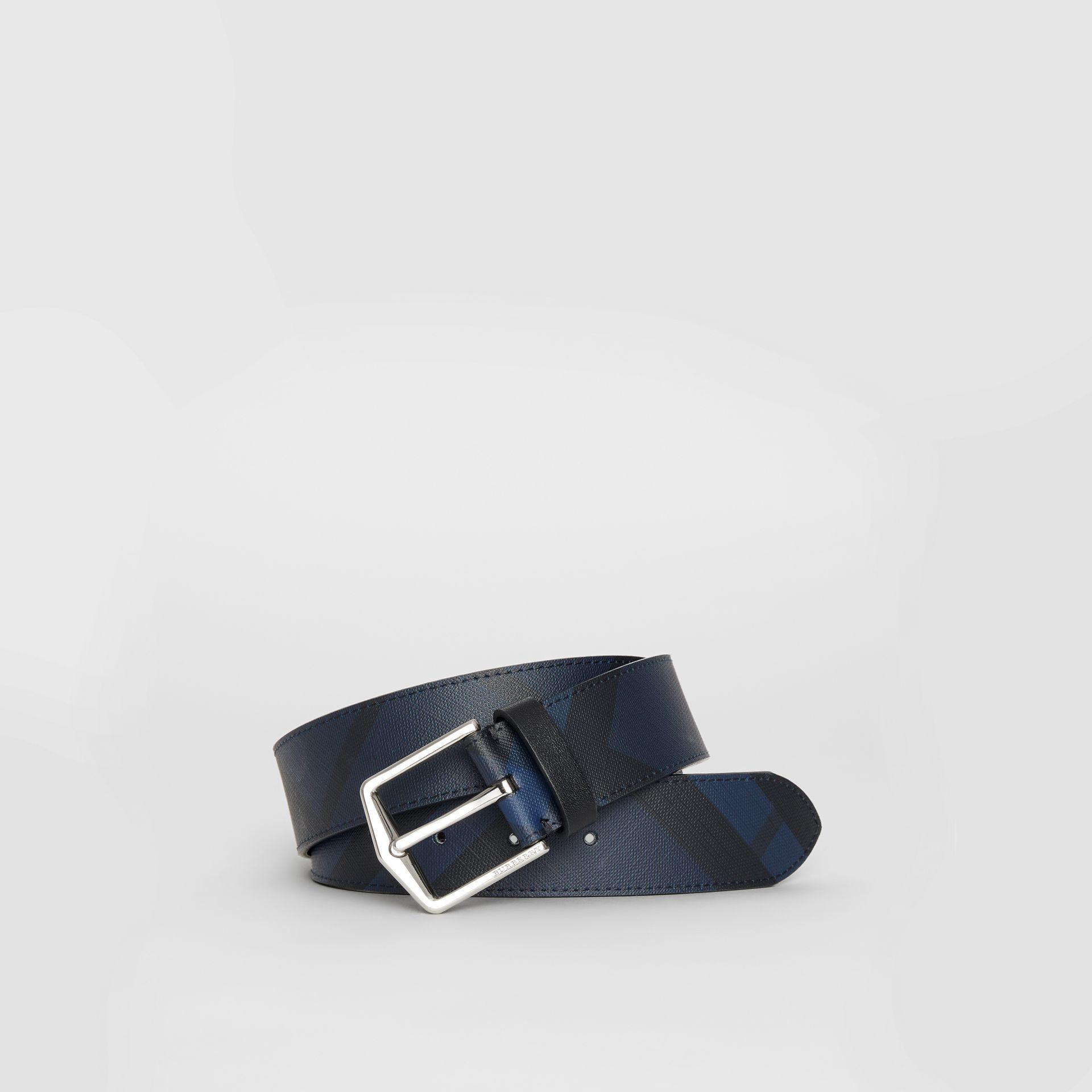 London Check Belt in Navy/black - Men | Burberry - gallery image 0