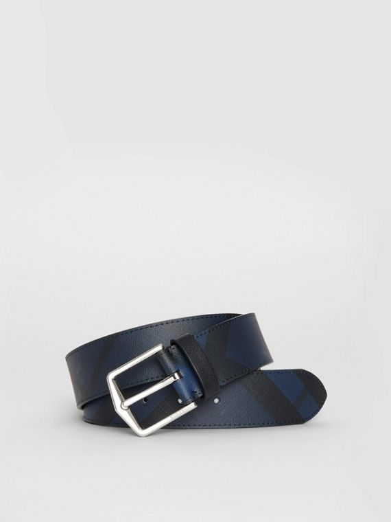 London Check Belt in Navy/black